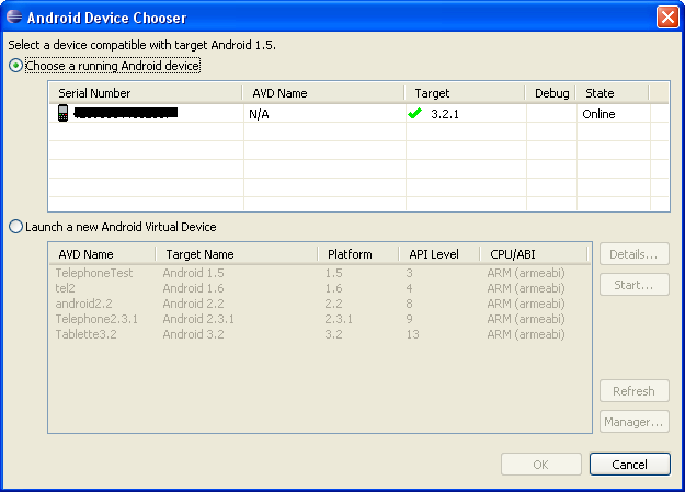 Device chooser in eclipse