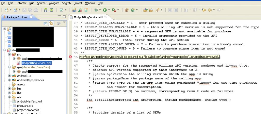 Error when IInAppBillingService.aidl added